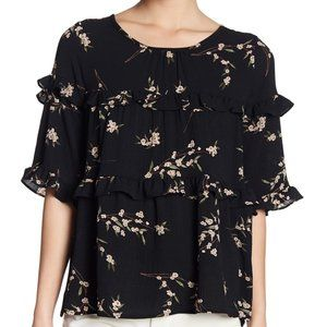 Pleione Black Ruffled Tired Pink Flower Top Size L